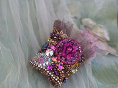 Brocart cuff ornate cuff with antique laces bohemian wrist