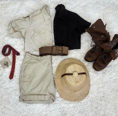 Thrift Store Cosplay Day 18: Van Pelt from Jumanji fashion blog post villain flat lay