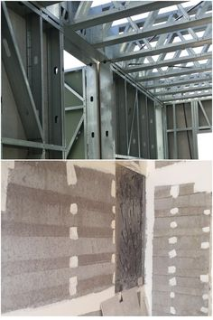 Galvanized steel stud and trucks with fiber cement boards cladding and non autoclaved lightweight aerated concrete insulation. #aircrete #lightweightconcrete #gazbeton Concrete Insulation, Concrete Mix Design, Fiber Cement Board, Thermal Insulation, Drywall, Galvanized Steel, Interior Walls, Cladding, Garage Doors