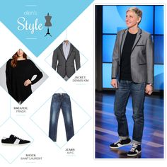 Ellen's Look of the Day: sweater, jacket, jeans, and sneakers (makeup by Heather Currie)