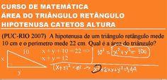 Questão solucionada: (Pontifícia Universidade Católica PUC do Rio de Janeiro/RJ)  A hipotenusa de um triângulo retângulo mede 10 cm e o perímetro mede 22 cm. Qual é a área do triângulo?   ASSISTA À VÍDEOAULA COM A RESOLUÇÃO DESTA QUESTÃO COMENTADA, PASSO A PASSO, NO SEGUINTE LINK: https://youtu.be/NBOAXWEzzRg