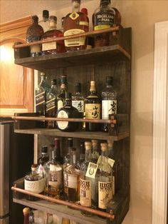 (notitle) - For the Home - Schnaps Diy Hanging Shelves, Wood Shelves, Small Wood Projects, Home Projects, Small Game Rooms, Home Bar Decor, Home Bar Designs, Wine Rack Wall, Man Cave Home Bar