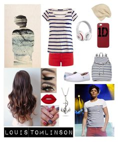 """""""Louis Tomlinson #1"""" by slytherinangrl on Polyvore featuring BAGGU, Oasis, Velvet, TOMS, SIJJL, Apple and Beats by Dr. Dre"""