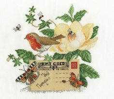 Robin Postcard Cross Stitch Kit £22.50   Past Impressions   DMC