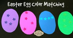 Cut eggs from different colors of construction paper. Use whatever stickers you have on hand. Decorate each egg with matching colored stickers.