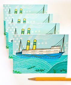 Nautical Cards! These bright and blue boat notecards are perfect for any occasion. Illustrated by Susie Ghahremani / boygirlparty, available at the boygirlparty shop – shop.boygirlparty.com #boat #cards #stationery