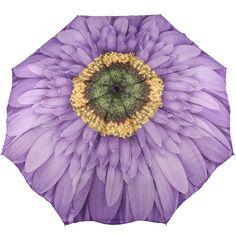 Galleria Art Print Auto Open & Close Folding Umbrella - Purple Gerbera