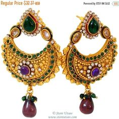 SALE 30% OFF- Earrings Copper Chand Baali Handmade Dangle Kundan with Pearls, Glass Beads, and Zircon Crystals-Rajasthani Jewelry from West