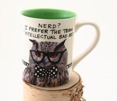 Back to school, owl mug, gift for teacher, student, dorm decor, college bound, grammar mug, funny mug for nerd  This is a large sized stoneware mug that