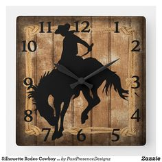 Silhouette Rodeo Cowboy on Bucking Bronco Horse Square Wall Clock Bronco Horse, Retro Illustration, Wall Clocks, Dog Design, Hand Coloring, Rodeo, Branding Design, Silhouette, Horses