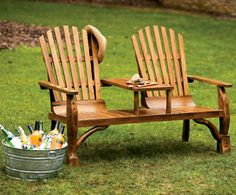 Adirondack Loveseat with Table - Outdoor Living Furniture - Outdoor Living…