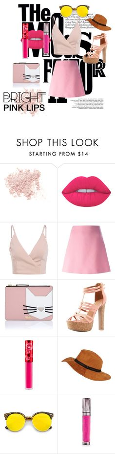 """You Could Be Just Figmanted of My Imagination"" by aichi ❤ liked on Polyvore featuring beauty, Bare Escentuals, Lime Crime, Marni, Karl Lagerfeld, Charlotte Russe, Revo, Urban Decay, friday and brightpink"