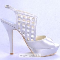 "Charming 5"" Grid Peep-toe Sandals - Ivory Satin Wedding Shoes (11 colors) $76.98"