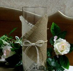 burlap wedding centerpieces | Burlap wedding centerpiece, Candle and flower vase covers, Country ...