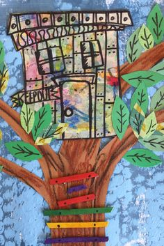 The backgrounds are a painting technique using bubble wrap.  Next we used oil pastels on brown construction paper for the trees.  We added a ladder with wooden craft sticks.  They kids designed their own tree houses and tucked them in the branches, lastly, we added green construction paper leaves with sharpie details.