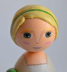 Corinne  Original Wooden Kokeshi Doll  Mixed by JarilloArtCraft