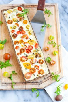 Caramelized onion, goat cheese, and heirloom tomato  buckwheat-thyme tart/quiche