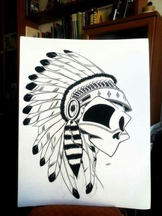 Skull Sioux Ilustración Draw Illustration