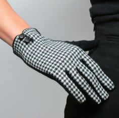 Plaid-Gloves-Tweed-Wool-Swallow-Gird-Knit-Houndstooth-Leather-Button-Rabbit-Hair