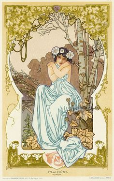 Decorative art nouveau panel 'Pluviôse' by Armand Segaud. Published in 1900 as part of L'Album de la Decoration collection, edited by A. Calavas.