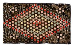 antique penny rug | Antique Penny Rugs / VIBRANT AMERICAN APPLIQUE WOOL PENNY RUG IN .... ~♥~