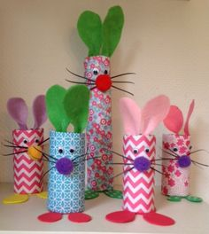Familie Haas-wc rol Preschool Crafts, Easter Crafts, Crafts For Kids, Arts And Crafts, Toilet Paper Roll Crafts, Projects For Kids, Easter Bunny, Gift Wrapping, Kids Fun