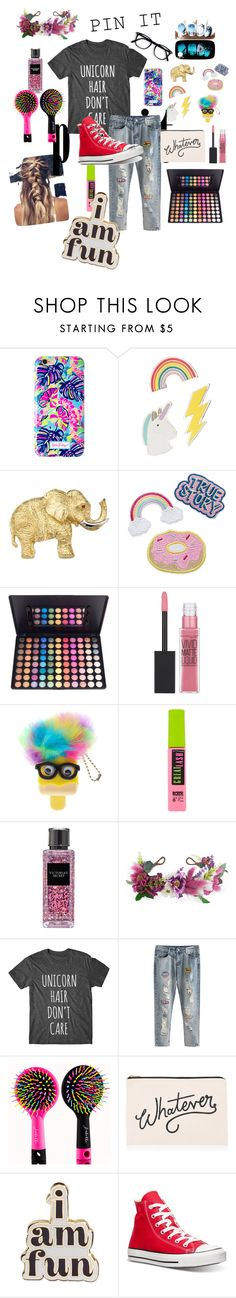 """""""So crazy, it's F.U.N"""" by the-crazy-dog-lover ❤ liked on Polyvore featuring Lilly Pulitzer, Red Camel, Maybelline, Victoria's Secret, Rock 'N Rose, ALPHABET BAGS, ban.do and Converse"""