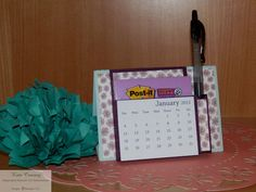 Post it note holder with pen and calendar, 2015 desk calendar, see more on my blog http://www.katespapercreations.com/2014/07/its-about-time-tent-fold-desk-calendar.html