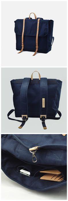 Vintage Men Casual Canvas Leather Backpack Rucksack Bookbag Satchel Hiking Bag L105 - Thumbnail 4