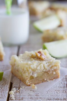Apple Crumb Bars - sweet caramelized apples layered on top of a cookie crust and then sprinkled with a buttery streusel. I couldn't keep my hands out of these!