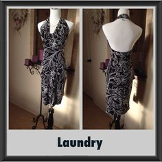 """🎈sale🎈Laundry black and white halter dress This has only been worn a few times 38"""" long waist 26"""". Laundry by Shelli Segal Dresses"""