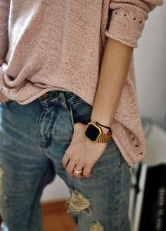 Jeans, oversized comfy sweater tucked slightly, wrist pieces (men's style gold watch instead).