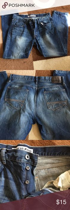 Button fly distressed denim jeans -great condition Express Rocco slim fit/skinny leg jeans. Faded and distressed style. Hardly worn and in great condition. 34x30 Express Jeans Slim