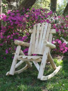 White Cedar Rocking Chair. Made from Northern White Cedar logs and slats with contoured seat slats.