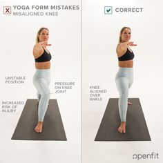 Even seasoned yogis have made the same yoga form mistakes you see on this list. Let's look at some of the most common examples — and some tips on how to fix them from Openfit's yogis. Chakra Meditation Music, Good Stretches, Stretching, Learn Yoga, Practice Yoga, Yoga Routine For Beginners, Tight Hamstrings, Standing Poses, Yoga At Home