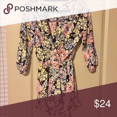 Necessary Clothing Floral Long-Sleeve Romper Good condition. Stretchy arm band and flowy bottom half Necessary Clothing Dresses