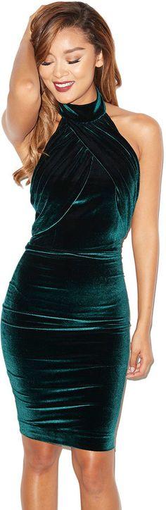 'Bellina' Dark Green Velvet Backless Dress