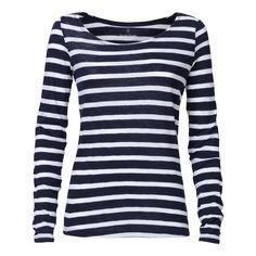 22.90€ Damen Longsleeve Gestreift White/Navy Bio & Fair Gestreiftes Langarm-Shirt aus Bio-Baumwolle