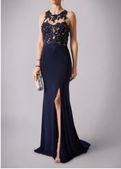 Navy illusion lace top split prom dress. #prom #navy  #jersey  #lace #split  #promdress #nighttoshine #prom2018 #adeavabridal