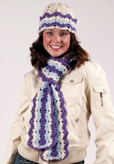 Ripple Hat & Scarf in Red Heart Soft - LW1471