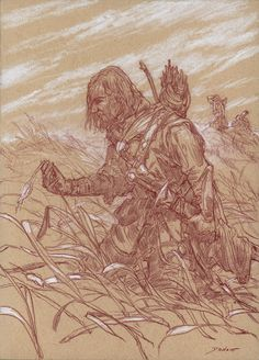 Illustrations for Middle-Earth: Visions of a Modern Myth, drawn by Donato Giancola via Muddy Colors I simply love pencil and chalk works!