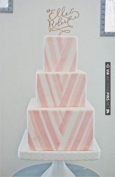 pink and white chevron wedding cake, see more here | CHECK OUT MORE IDEAS AT WEDDINGPINS.NET | #weddingcakes
