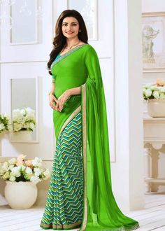 Green Half N Half Leriya Saree- Indiana Lifestyle Online Shopping