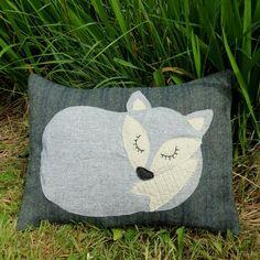 Little grey fox. A snoozy fox cushion on tweed by TheSherbetPatch
