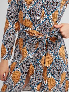 Hydrogen Balloon Floral Belted Shirt Dress - MULTI-A L Wrap Around Dress, Wrap Dress, Philippine Women, Snake Skin Dress, Belted Shirt Dress, Surprise Gifts, Pencil Dress, Philippines, Casual Shirts