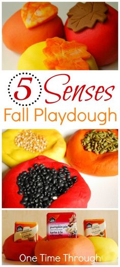 Looking for unique ideas for Fall Playdough fun? Check out our playdoughs that use ALL 5 SENSES!!! {One Time Through} #sensory #playdough #kids