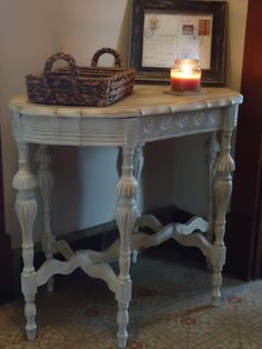 First time Chalk Paint® decorative paint by Annie Sloan project of a gorgeous side table painted in Old White Chalk Paint® and dark wax by Chrissy Neff Wilson