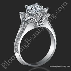 http://BloomingBeautyRing.com LOVE IN BLOOM diamond engagement ring #UniqueHaloRings