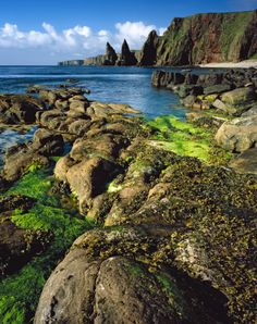 Rugged coastline at Duncansby Head, the northeast extremity of Scotland on the Caithness coast, popular with ornithologists