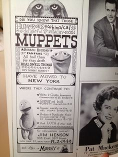 An ad for the Muppets from 1963 - too cool!